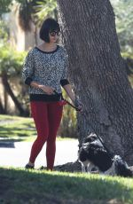 NINA DOBREV Out with Her Dog in Los Angeles 10/15/2017
