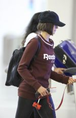 NINA DOBREV with Her Dog at Toronto Airport 10/02/2017