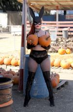 PHOEBE PRICE at Pumpkin Patch on the Set of a Photoshoot 10/11/2017