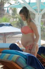 Pregnant CATHY HUMMELS in Bikini on Holiday in Dubai 10/22/2017