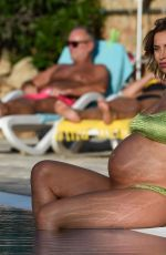 Pregnant FERNE MCCANN in Bikini at a Pool in Majorca 10/05/2017