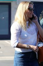 REESE WITHERSPOON in Denim Skirt Arrives at Her Office in Los Angeles 10/26/2017