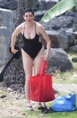 ROSE MCGOWAN in Swimsuit at a Beach in Hawaii 10/23/2017