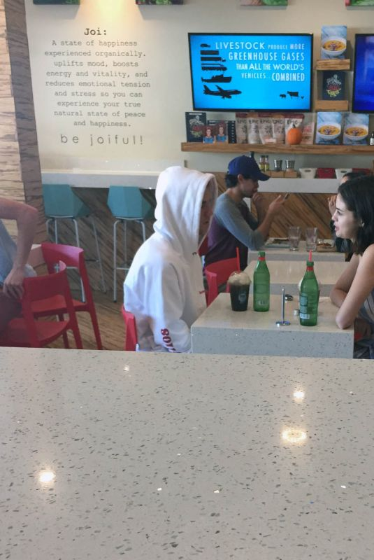 SELENA GOMEZ and Justin Bieber at a Cafe in Westlake Village 10/29/2017