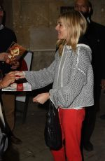 SIENNA MILLER Leaves Apollo Theatre After Her Performance in London 09/29/2017