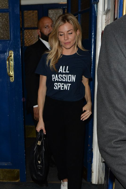 SIENNA MILLER Leaves Apollo Theatre in London 10/04/2017
