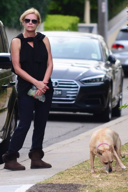 SONIA KRUGER Out with Her Dog in Mosman 10/08/2017