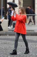 THYLANE BLONDEAU Out at Paris Fashion Week 10/01/2017