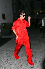 VICTORIA BECKHAM in Red Jumpsuit Out in New York 10/12/2017