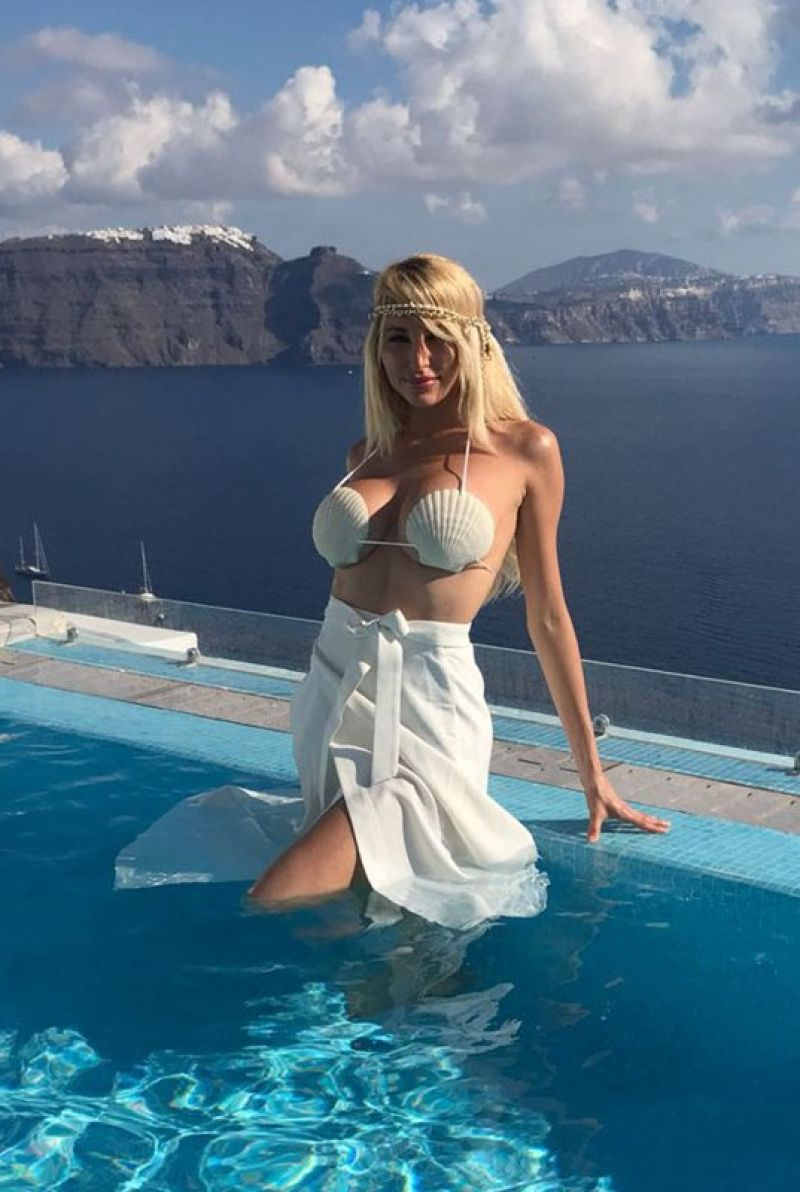 Victoria Xipolitakis in Blue Bikini at the pool in Santorini Pic 5 of 35