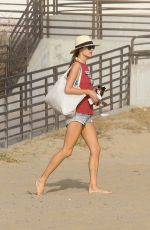 ALESSANDRA AMBROSIO Playing Volleyball on the Beach in Santa Monica 11/25/2017