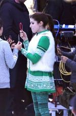 ANNA KENDRICK on the Set of Noelle in Vancouver 11/23/2017