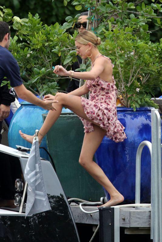 BELLA HADID and HAILEY BALDWIN at a Boat Ride in Miami 11/27/2017