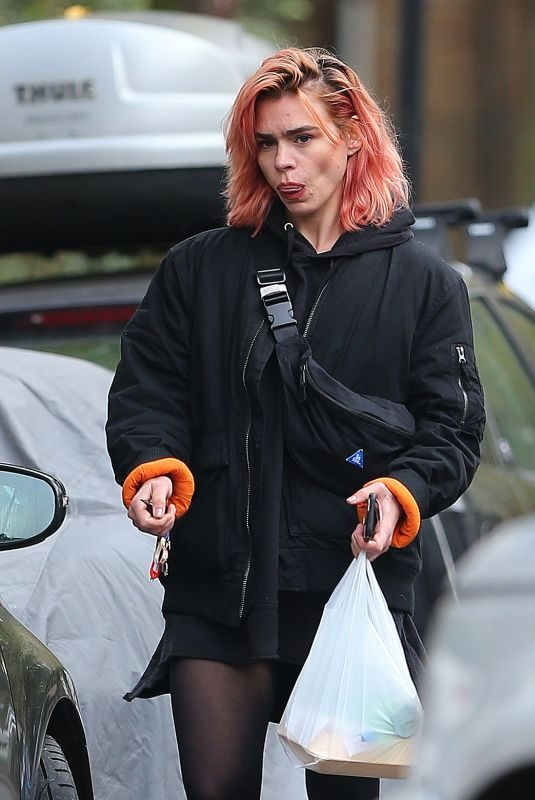 BILLIE PIPER Shows New Pink Hair Out in London 11/15/2017