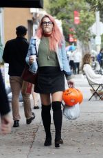 BUSY PHILIPPS Buys Halloween Trick or Treat Buckets at CVS in Los Angeles 10/31/2017