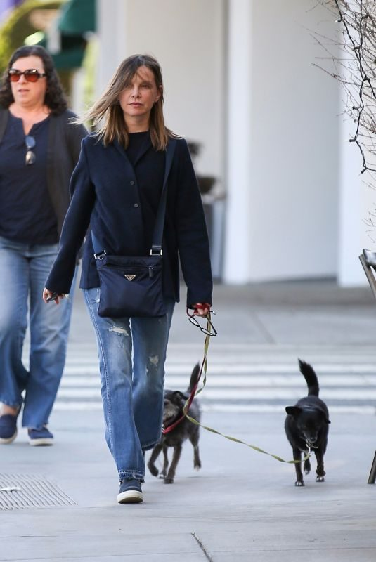 CALISTA FLOCKHART Walks Her Dog Out in Brentwood 11/14/2017