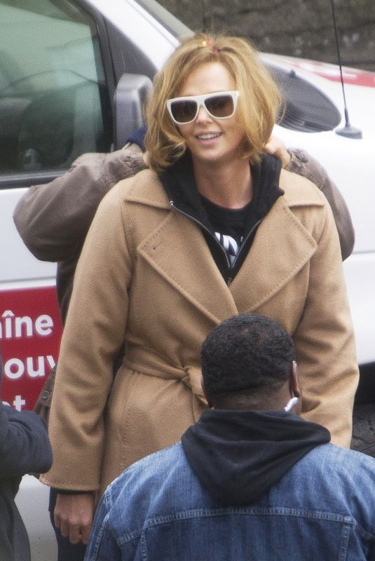 CHARLIZE THERON on the Set of Flarsky in Montreal 11/08/2017