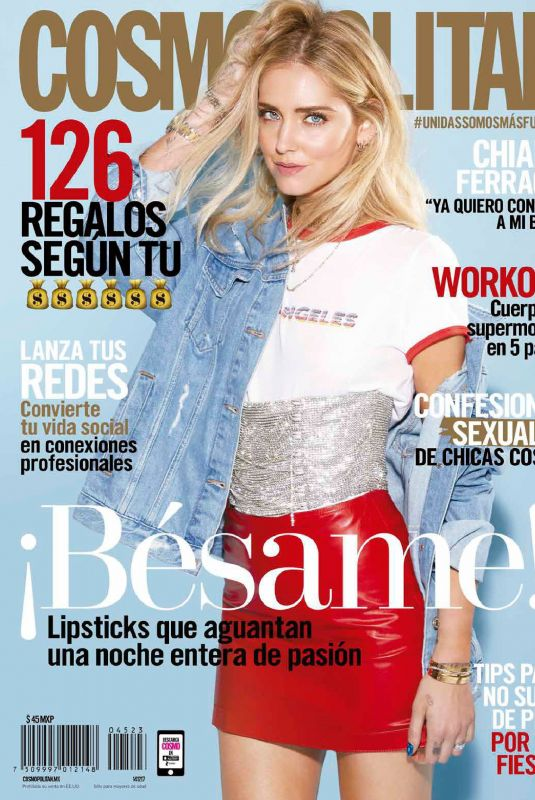 CHIARA FERRAGNI in Cosmopolitan Magazoine, Latinoamerica December 2017