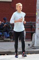 CLAIRE DANES Out Jogging in New York 11/03/2017