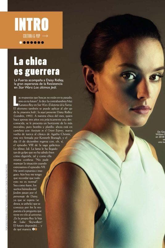 DAISY RIDLEY in GQ Magazine, Spain December 2017