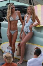 DANIELLE KNUDSON and JORDAN VAN DER VYVER in Bikini on the Set of a Photoshoot in Malibu 1/01/2017