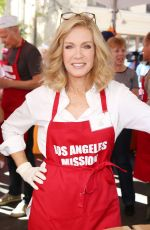 DONNA MILLS at Los Angeles Mission Thanksgiving Meal for the Homeless in Los Angeles 11/22/2017