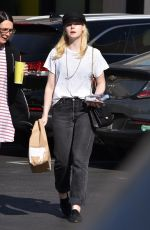 ELLE FANNING Out for Lunch at Burger Lounge in Van Nuys 11/28/2017