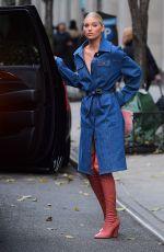 ELSA HOSK in Denim Coat Out in New York 11/28/2017