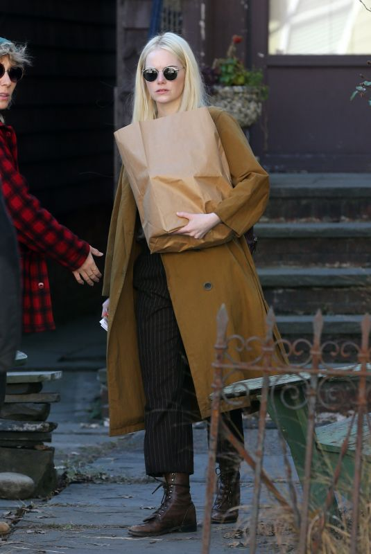 EMMA STONE on the Set of Maniac in New York 11/09/2017