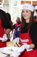EMMY ROSSUM at Los Angeles Mission Thanksgiving Meal for the Homeless in Los Angeles 11/22/2017