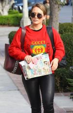 HILARY DUFF Arrives at a Hair Salon in West Hollywood 11/16/2017