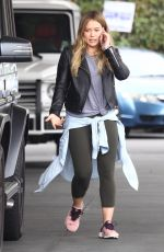HILARY DUFF at a Gas Station in Beverly Hills 10/31/2017