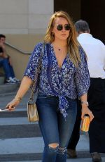 HILARY DUFF in Ripped Jeans Out for Lunch in Los Angeles 11/14/2017