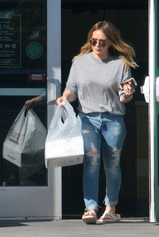HILARY DUFF Leaves Krispy Kreme in Beverly Hills 11/18/2017