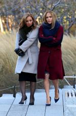 JENNIFER LOPEZ and LEAH REMINI on the Set of Second Act in New York 11/27/2017