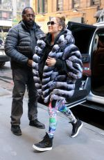 JENNIFER LOPEZ in Faux Fur Coat Arrives at a Gym in New York 11/10/2017