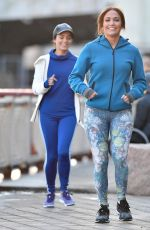 JENNIFER LOPEZ and VANESSA HUDGENS Jogging on the Set of Second Act in New York 11/27/2017