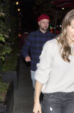 JESSICA BIEL Arrives at Beauty & Essex in Hollywood 11/15/2017