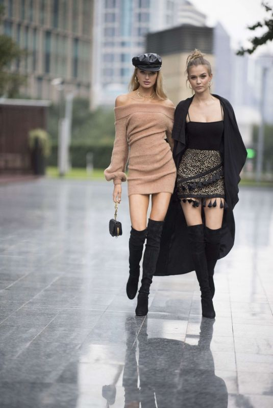 JOSEPHINE SKRIVER and ROMME STRIJD Out and About in Shanghai 11/22/2017
