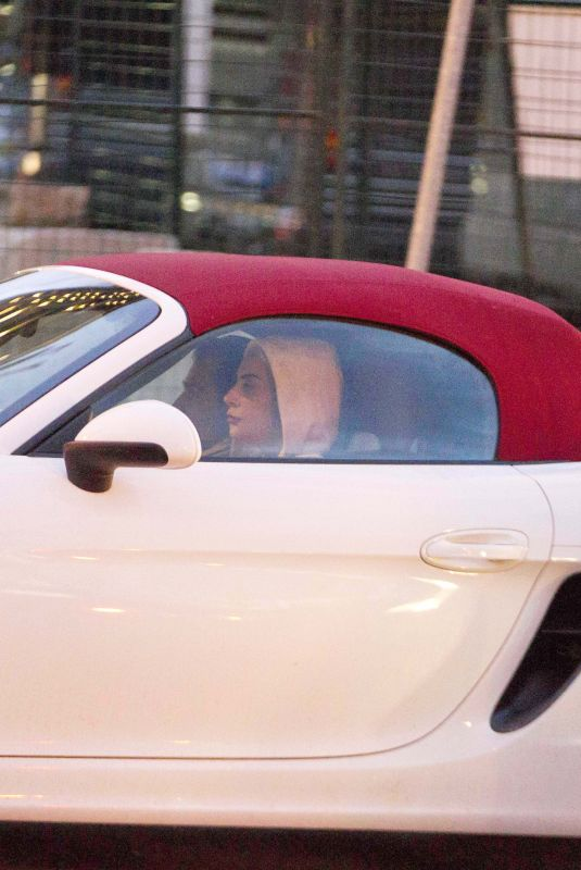 LADY GAGA Drives a White Porsche Convertible Out in Montreal 11/05/2017