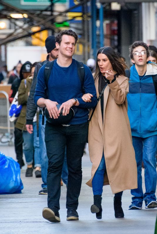 LEA MICHELE and Jonathan Groff Out in New York 11/21/2017