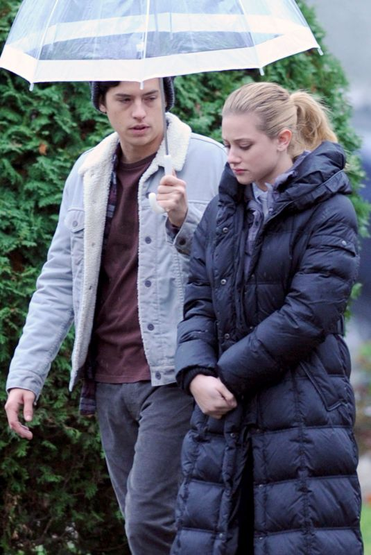 LILI REINHART on the Set of Riverdale in Vancouver 11/14/2017