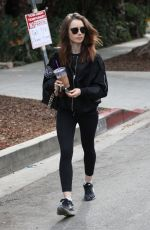 LILY COLLINS Leaves a Gym in West Hollywood 11/15/2017