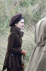 LILY COLLINS on the Set of Tolkien in Merseyside 11/04/2017