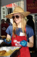 MARCI MILLER at Los Angeles Mission Thanksgiving Meal for the Homeless in Los Angeles 11/22/2017