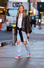 MARTHA HUNT in Ripped Jeans Out in New York 11/06/2017