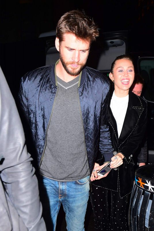 MILEY CYRUS and Liam Hemsworth Arrives at SNL Afterparty in New York 11/04/2017