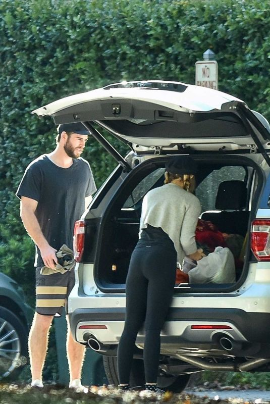 MILEY CYRUS and Liam Hemsworth Out Sopping in Savannah 11/01/2017
