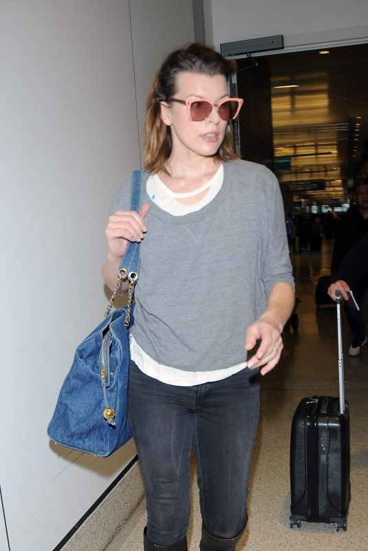 MILLA JOVOVICH at Los Angeles International Airport 11/06/2017