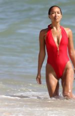 MYLEENE KLASS in Baywatch Red Smisuit at a Beach in Portugal 11/09/2017
